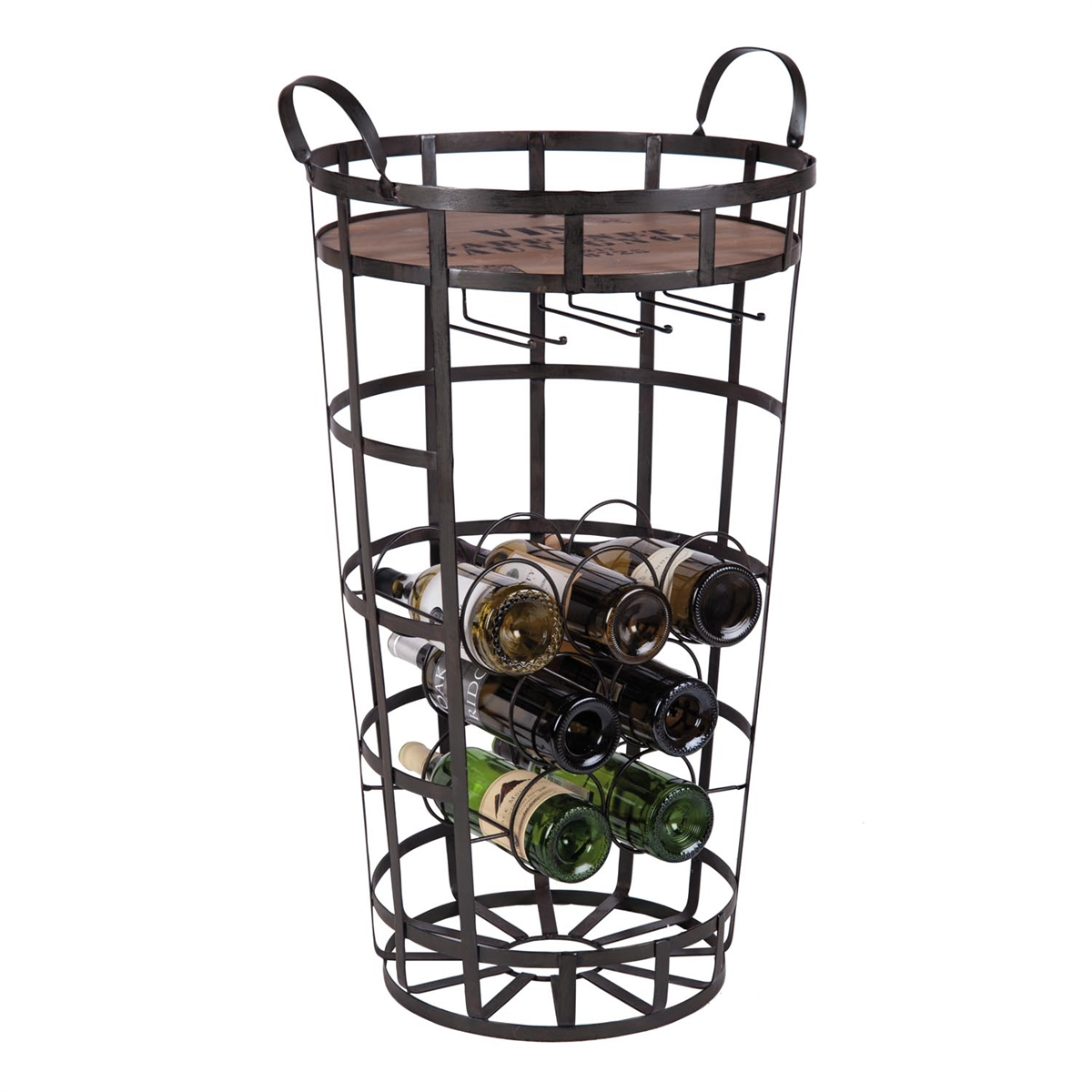 sc 1 st  Plum u0026 Post & 7 Bottle Manhattan Mini Bar Metal Wine Rack | Plum u0026 Post
