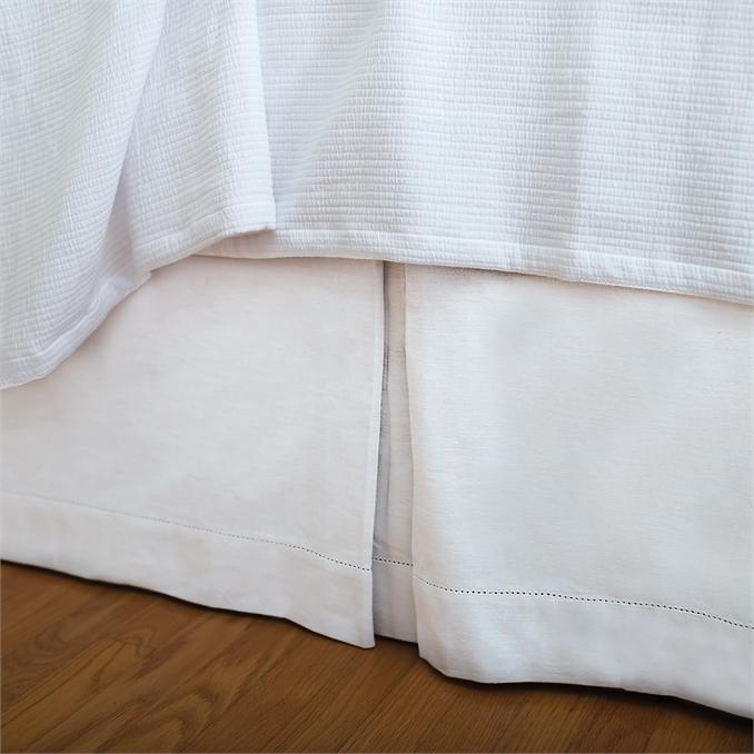 Hemstitch White King Bed Skirt  fe6f4c1e1